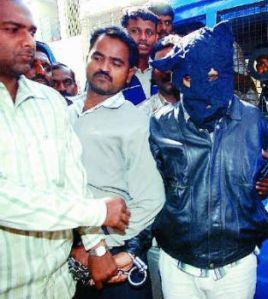 Suspected terrorist Imran alias Bilal being taken to Bowring Hospital, Bangalore, for a second narcoanalysis test, in January 2007.