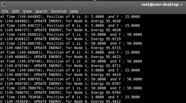 Obtaining Node Position and Energy Dynamically in NS2 34   Mano